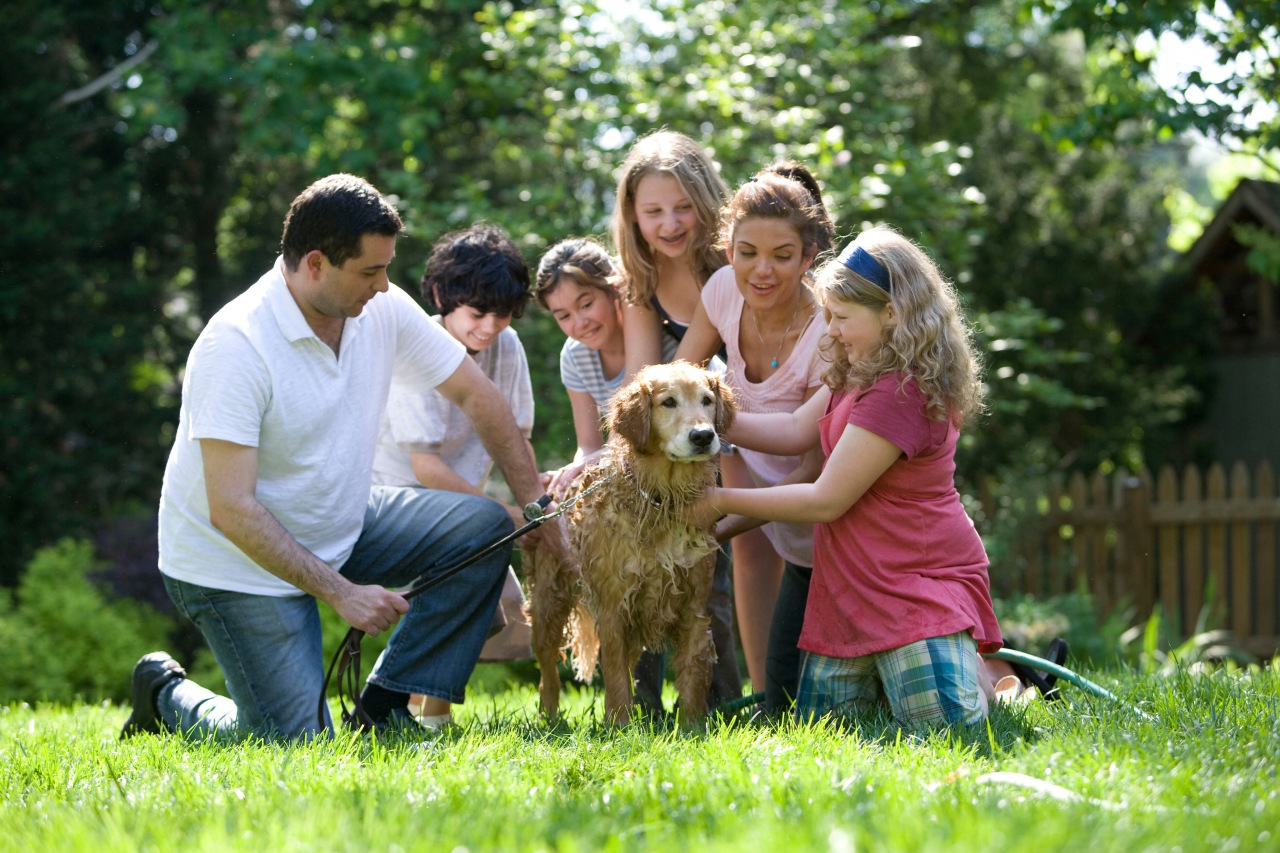Child and Family with dog